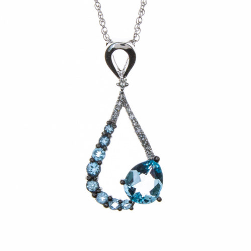 14K White Gold Blue Topaz Pear Necklace