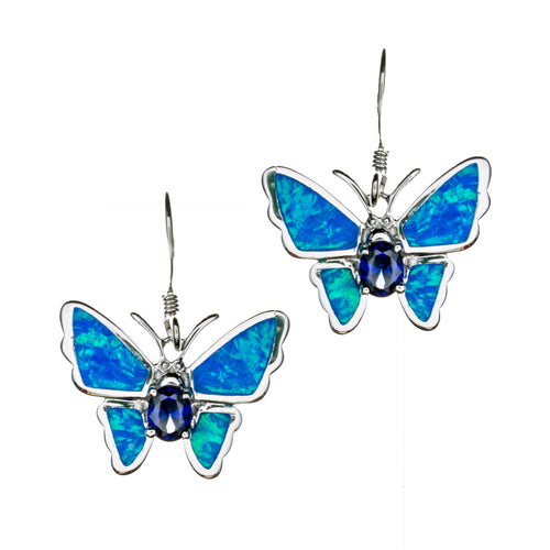 Sterling Silver Created Opal Butterfly Earrrings