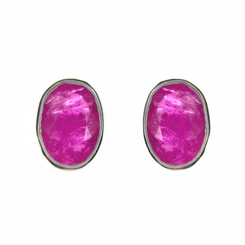 Sterling Silver Ruby Stud Earrings