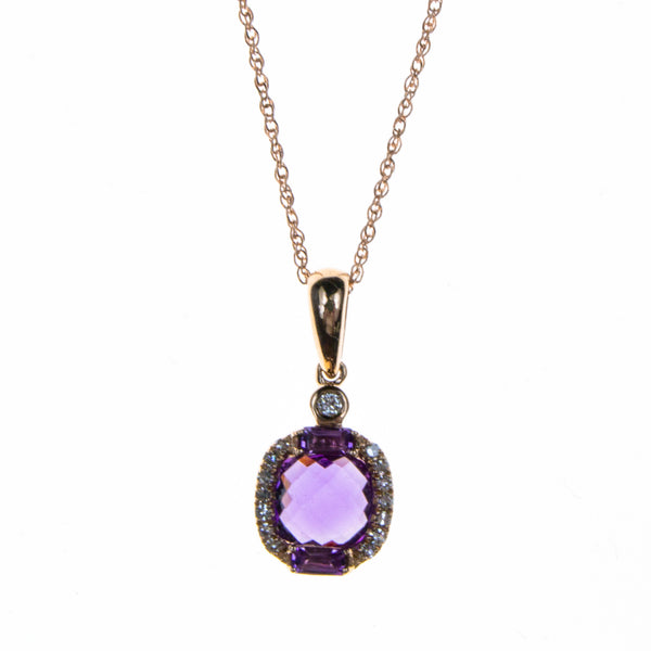 14K Rose Gold Amethyst Necklace