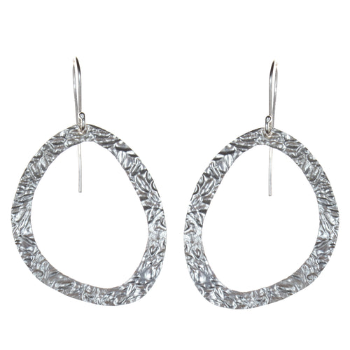 Sterling Silver Textured Cutout Earrings