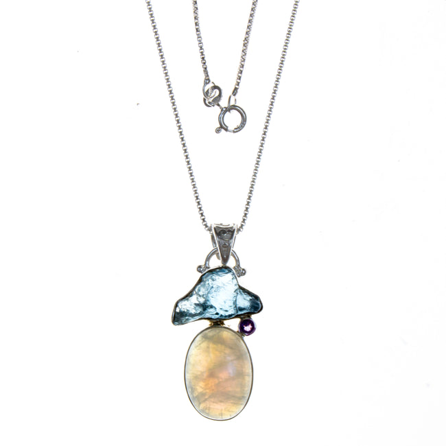 Sterling Silver Rainbow Moonstone Blue Topaz Pendant
