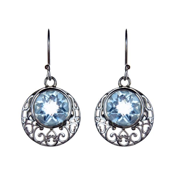 Sterling Silver Blue Topaz Round Earrings