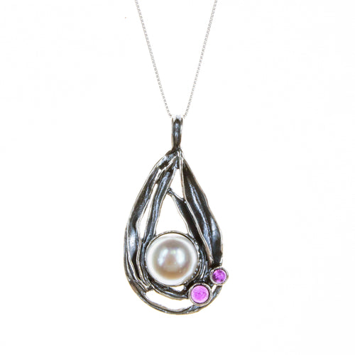 Sterling Silver Pearl Amethyst Necklace