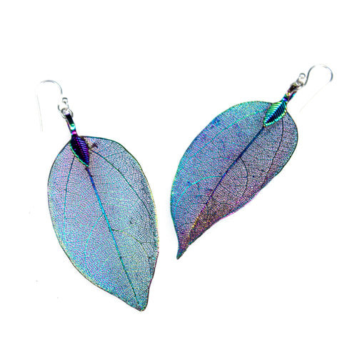 Sterling Silver Iridescent Leaf Earrings