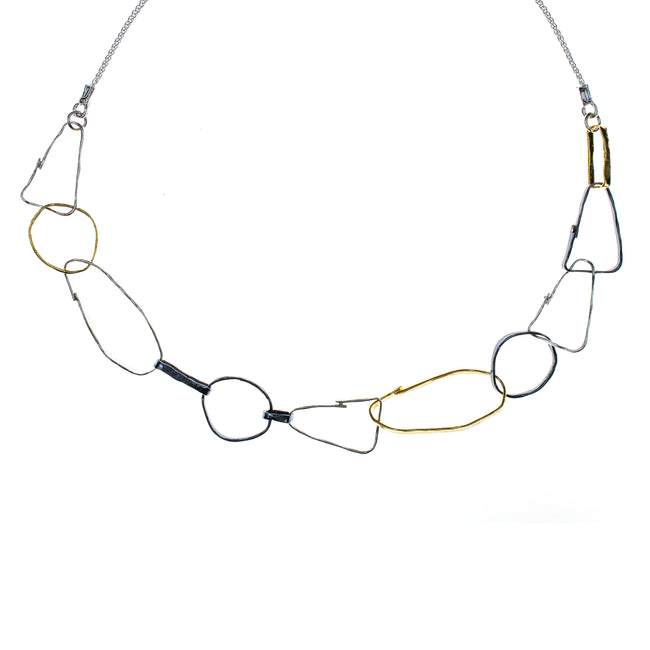 Sterling Silver Vermeil Oxdized Link Necklace