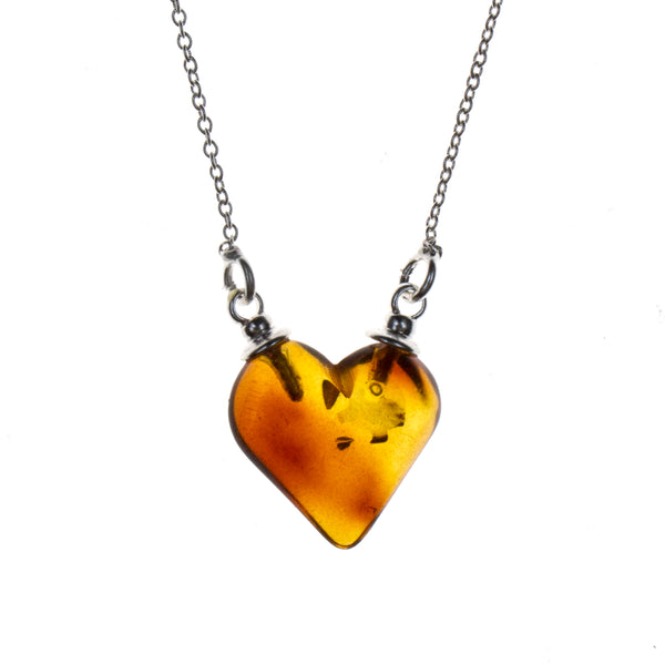 Sterling Silver Amber Heart Necklace