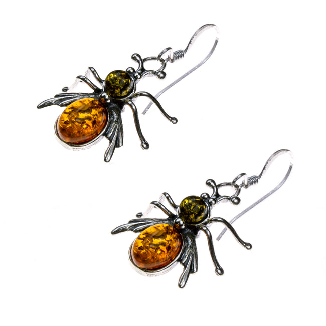 Sterling Silver Amber Bee Earrings