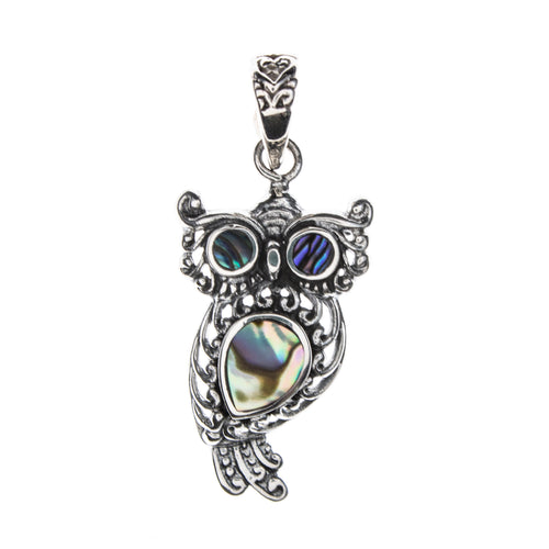 Sterling Silver Abalone Shell Owl Pendant