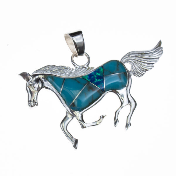 Sterling Silver Inlay Horse Pendant