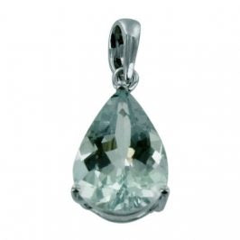 14K White Gold Aquamarine Pear Pendant