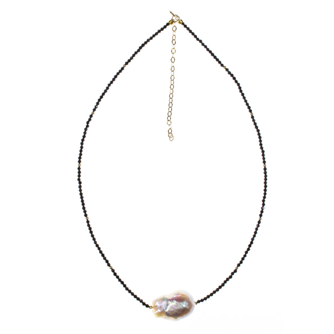 14K Yellow Gold Baroque Pearl Black Spinel Necklace