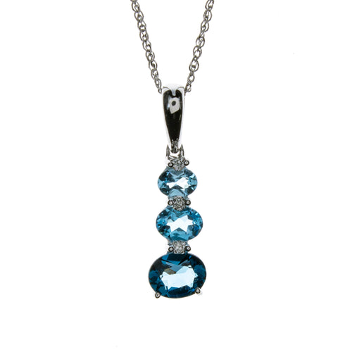 14K White Gold Blue Topaz 3 Oval Necklace