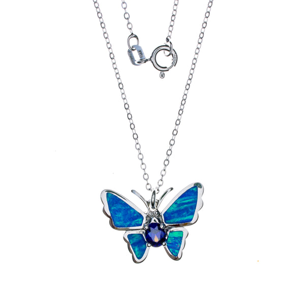 Sterling Silver Created Opal Butterfly Necklace