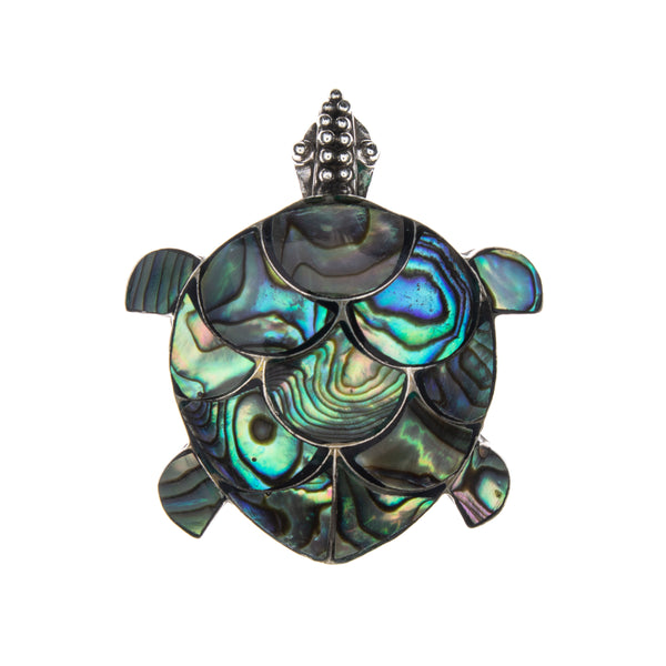 Sterling Silver Abalone Shell Turtle Pin & Pendant