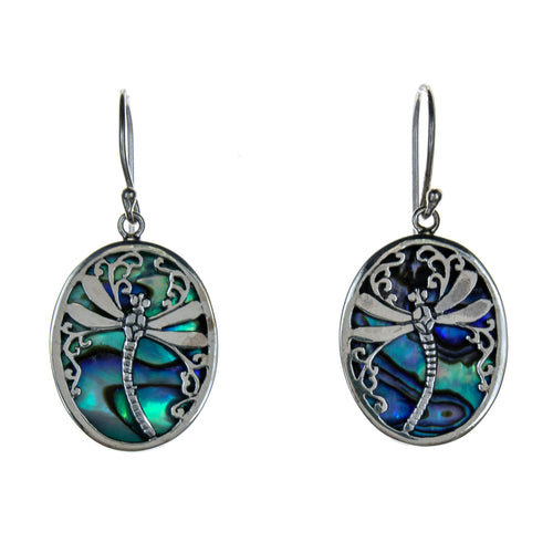 Sterling Silver Abalone Shell Dragonfly Earrings