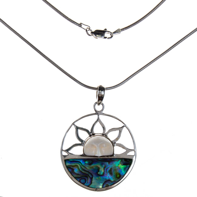 Sterling Silver Abalone Shell Sun Necklace