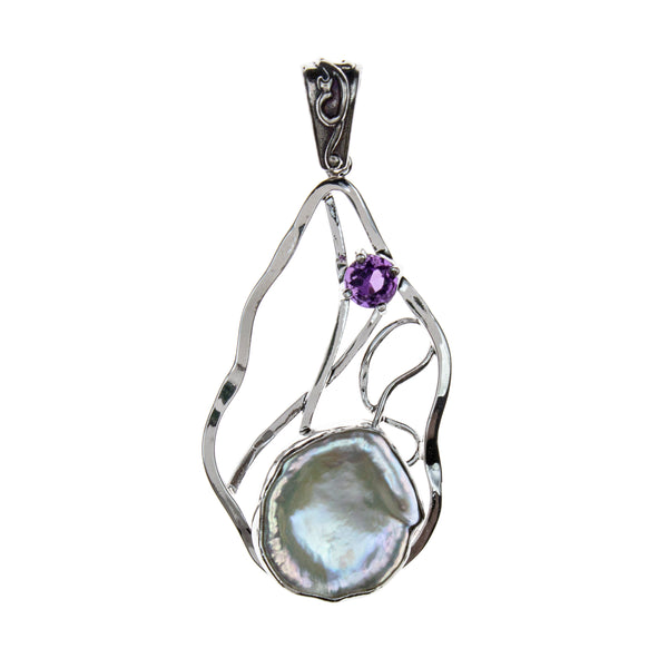 Sterling Silver Pearl Amethyst Pendant