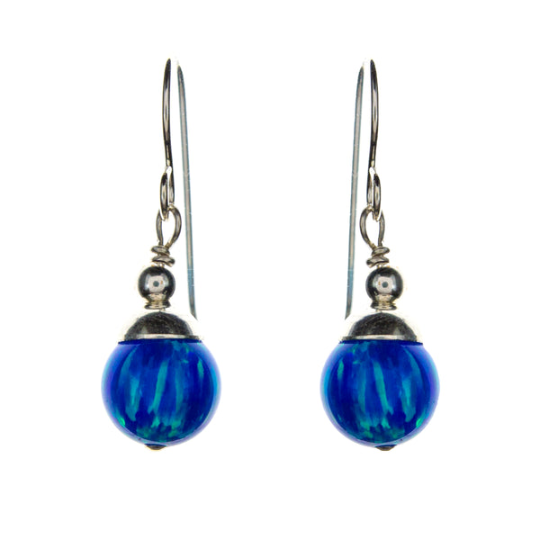 Sterling Silver Created Opal Ball Earrings