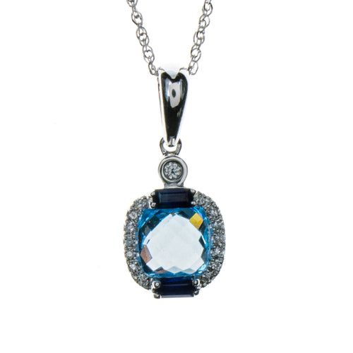 14K White Gold Blue Topaz 2 Tone Necklace