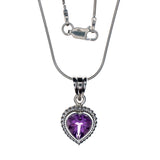 Sterling Silver Amethyst Heart Necklace