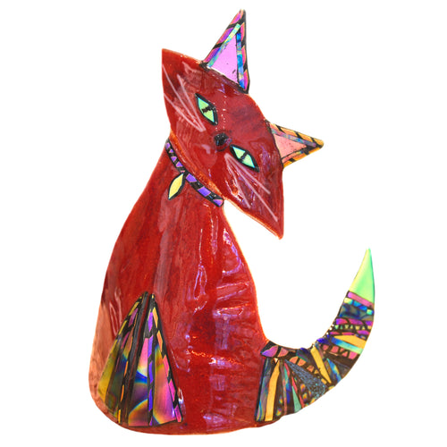 Art Glass Cat Dichroic Red