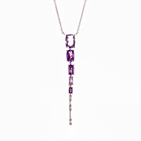 14K Amethyst Rectangle Gradient Necklace