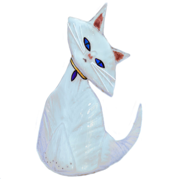 Art Glass Cat White
