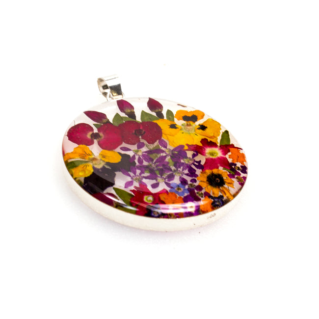 Sterling Silver Large Circle Resin Flower Pendant