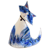 Art Glass Cat Blue