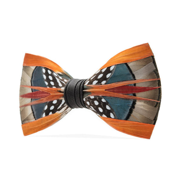 Mayfly Orange Feather Bow Tie