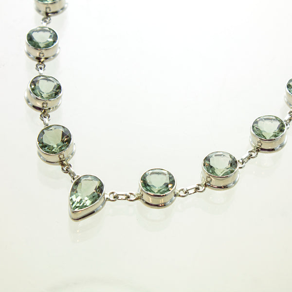 SS Green Amethyst Bezel Necklace