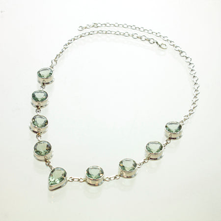 SS Aquamarine Variety Link Necklace