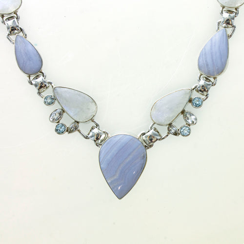 SS Blue Lace Agate, Rainbow Moonstone, Sky Blue & White Topaz Statement Necklace