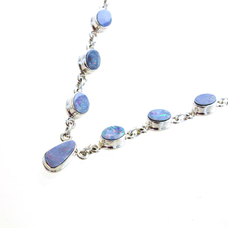 Long Silver Recycled Piano Wire Necklace w/ Blue Druzies