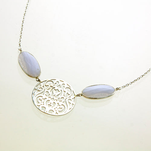SS Blue Lace Agate & Filigree Necklace