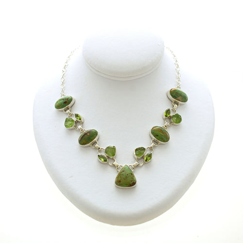 Green Turquoise and Peridot Bezel Link Necklace