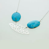 SS Cut Out Filigree Kingman Turquoise Necklace