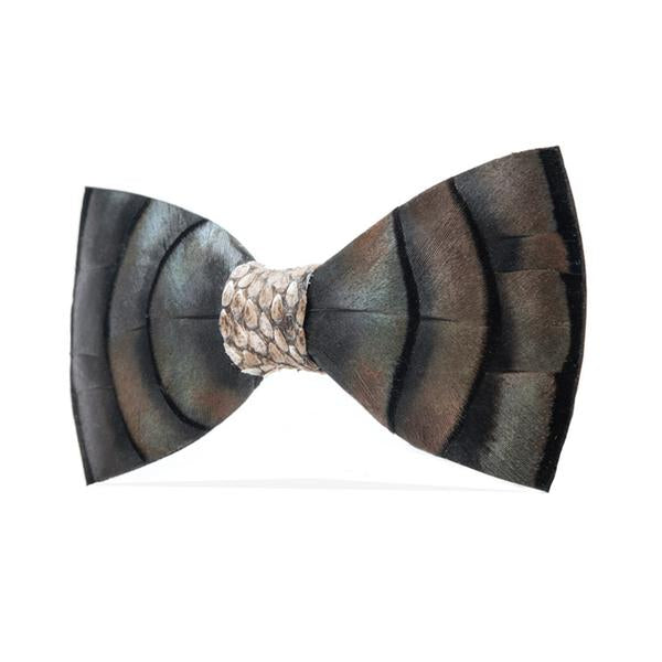 Turkey Feathers and Snake Skin Bow Tie