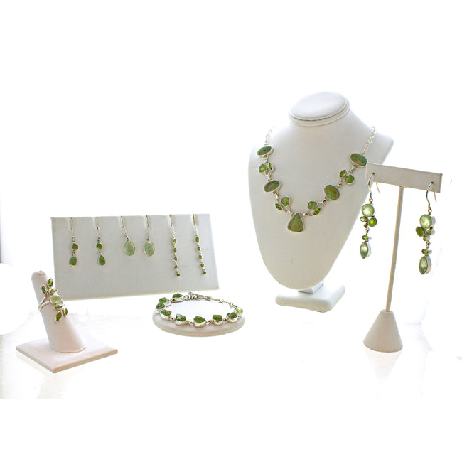 SS Elegant Prehnite, Peridot, & Vesuvianite Dangle Earrings