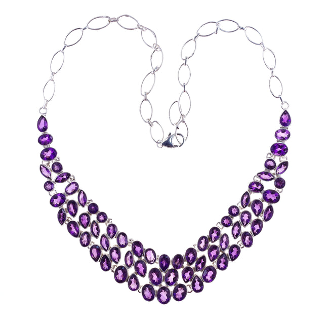 Sterling Silver Amethyst V Necklace