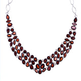 Sterling Silver Garnet V Adjustable Necklace
