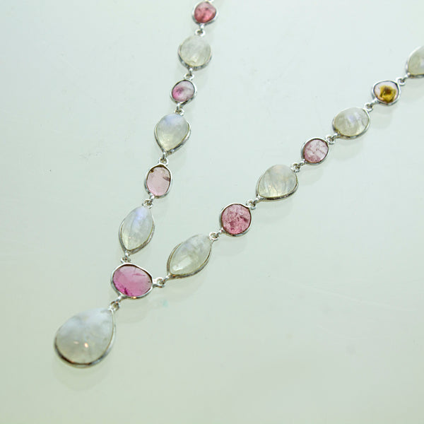 SS Pink Tourmaline and Rainbow Moonstone Necklace & Earrings Set