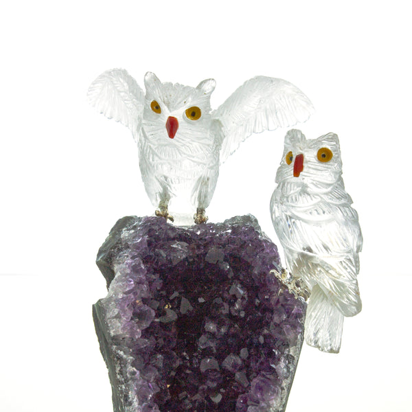 Carved Quartz Crystal Owls on Amethyst Geode Sculpture