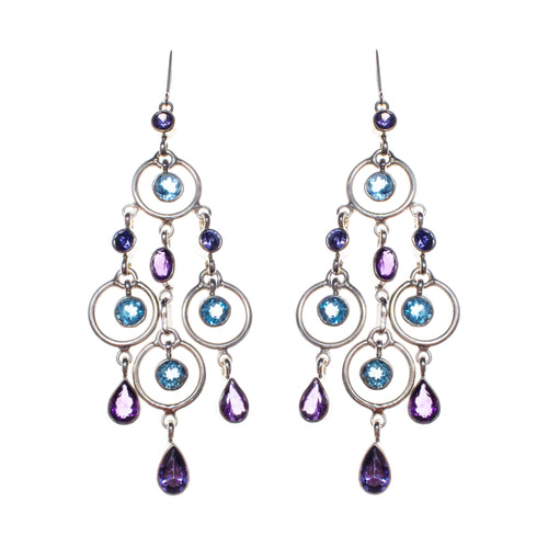 Sterling Silver Blue Topaz Amethyst Iolite Chandelier Earrings