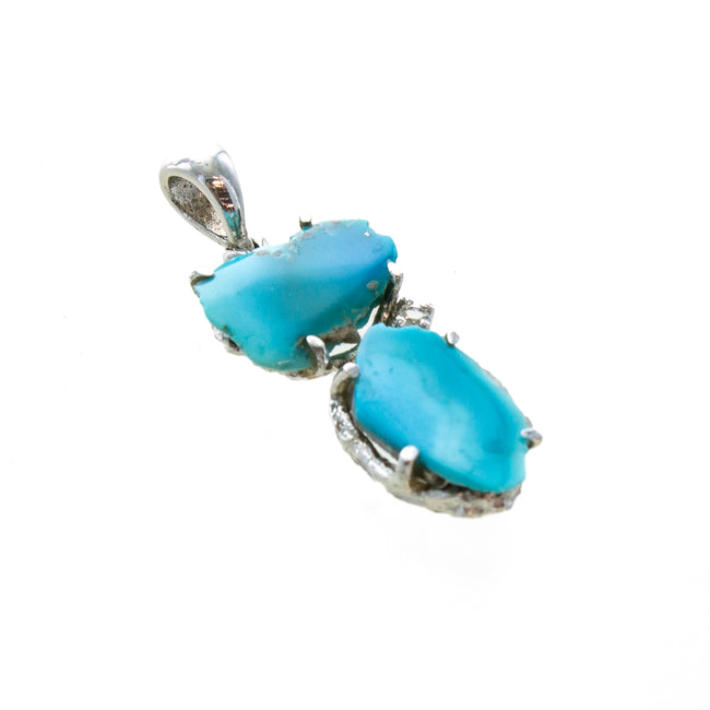 SS Turquoise Nugget Pendant with White Topaz