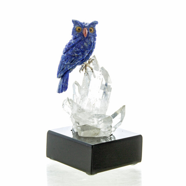Carved Lapis Owl on Quartz Crystal Cluster Sculpture