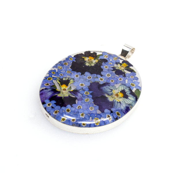 Sterling Silver Blue Pansy Resin Pendant