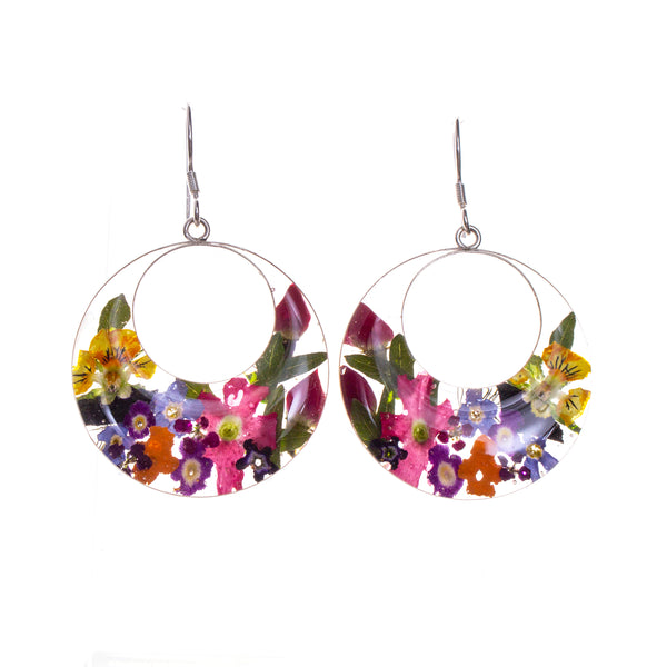 Sterling Silver Resin Bouquet Earrings