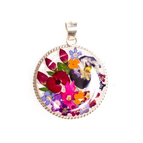 Sterling Silver Rope Circle Resin Flower Pendant